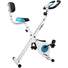 Klarfit Azura bicicleta estática plegable con respaldo (ordenador entrenamiento con diferentes niveles, pulsómetro, asiento con altura ajustable, sillín acolchado, espacio para iPhone y iPad, 100 kg de carga máxima)