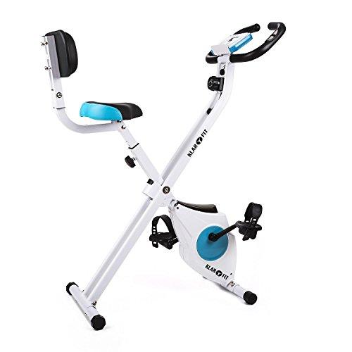 Klarfit Azura Confort Cyclette Pieghevole Ripiegabile Con Schenale (100 KG MAX, 8 livelli regolabili di resistenza, Ergometro con training-computer, Cardiofrequenzimetro integrato)