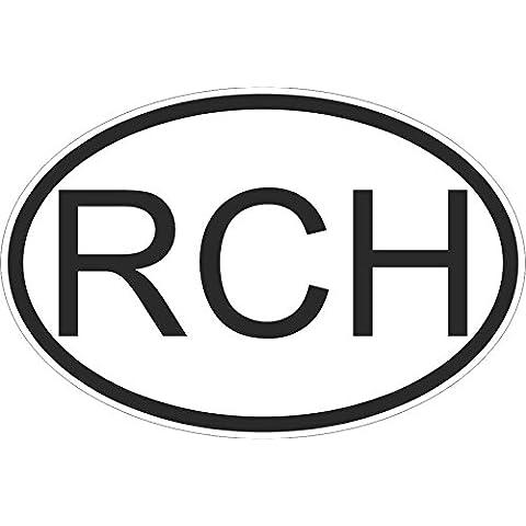 Adesivi, motivo: bandiera oval codice paese per auto e moto, Cile cilena rch