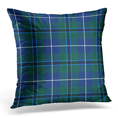 EUEI Throw Pillow Cover Navy Plaid Clan Douglas Blue and Green Modern Tartan Forest Decorative Pillow Case Home Decor Square 18x18 Inches Pillowcase -