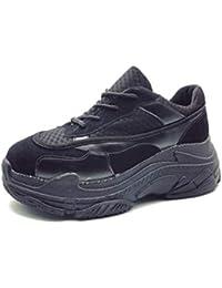 Mujeres Zapatillas Zapatos Plataforma Mujer Casual Bombas Mujeres Encaje  hasta Malla Enredaderas aumentó Zapatos internos de c9bfeea59b97
