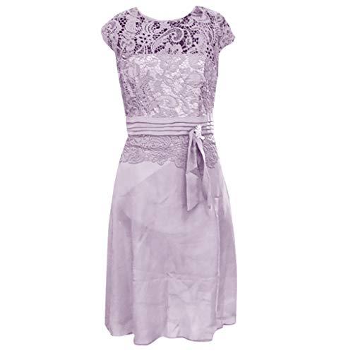 Zottom Frauen Kleider, Sommer Sexy Floral Formal Lace Vintage Kurzarm Slim Brautkleid❦Freizeitkleider (Formale Rosa Kleider Für Frauen)