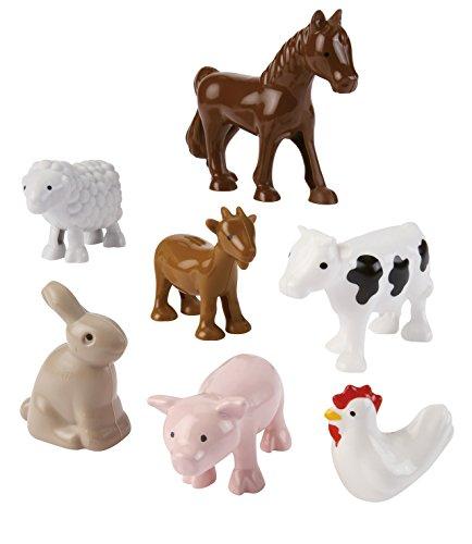 Jouets Ecoiffier - 3249 - Les animaux de la ferme Abrick - Jeu de construction pour enfants - 7 pièces - Dès 18 mois - Fabriqué en France