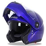 LYM-Fahrradhelm Motorradhelm, Off-Road-Doppellinse Elektroauto Anti-Fog-Sonnenschutzhelm Resistent Herbstmode Helm Blau (größe : XL63-64CM)