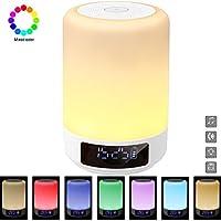 GB-Lun Lampe de Chevet Enceinte tactile Portable Bluetooth Haut-Parleur Réveil Alarme Horloge, Support TF Carte, USB, Bluetooth, Mains libres fonction de temporisation
