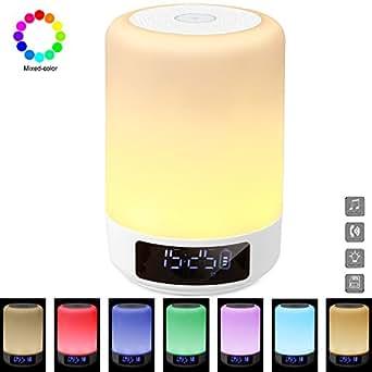 GB-Lun Lampada Altoparlante Bluetooth da comodino, Lampada Notturna a LED con Sensore Touch, Altoparlante Bluetooth portatile senza fili, Orologio sveglia con Luce notturna, sensore touch