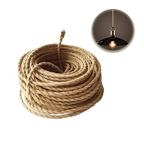 GreenSun LED Lighting 2 adrig,0,75mm² Seil Kabel Draht, 20m Textil Hanf Elektrische Mantel-Leitung, Twisted Geflochtene Stoffkabel Leinen Linie für Hängelampe DIY Lampe Zubehör