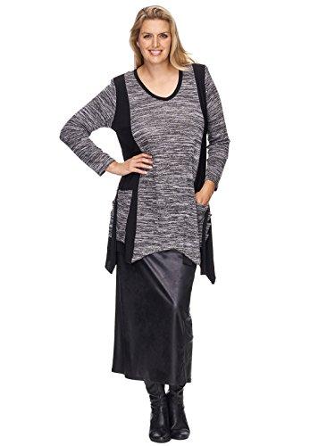 Freche Zipfel Tunika mit Bändern und Taschen melange-schwarz Größe 48 / 50 (Band-tunika)