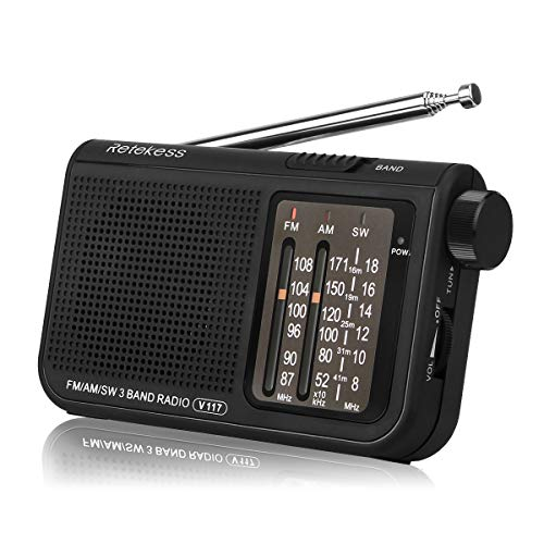 Retekess V117 Portable Radio Pocket Radio Am / FM / SW 3 Bands with Cylindrical Type Adjustment Knob (Black)