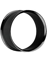 Treuheld®   Schwarzer Flesh Tunnel - 33 Größen: 1.6 - 50mm - Superdünner Rand - kein Gewinde - double Flare Piercing Ohr Tunnel aus schwarzem Chirurgenstahl 316L (nickelfreier Edelstahl) - dünn & schwarz