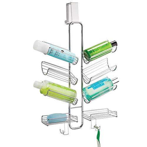 mDesign Duschablage zum Hängen über die Duschtür - praktisches Duschregal ohne Bohren - Duschorganizer zum Hängen aus rostbeständigem Metall für sämtliches Duschzubehör - silberfarben