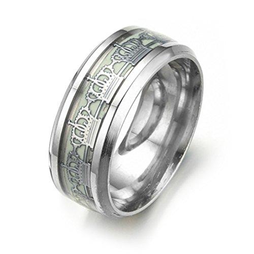 316L Edelstahl Ringe Silber Crown Pattern Luminous Eternity Band für Frauen (Crown Männer, Hip-hop-ringe Für)