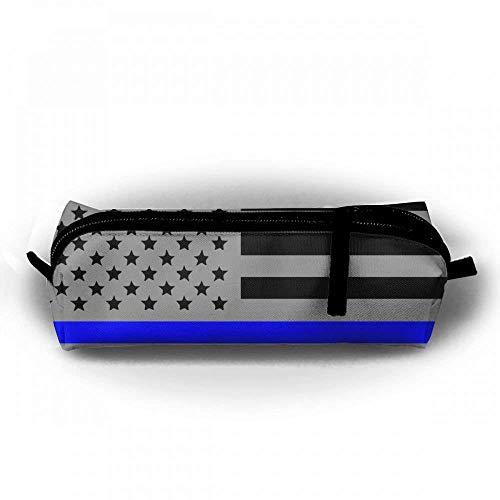 Amerikanische Flagge dünne Blaue Linie Bleistift-Kasten-Segeltuch-Briefpapier-Reißverschluss-Beutel-Tasche