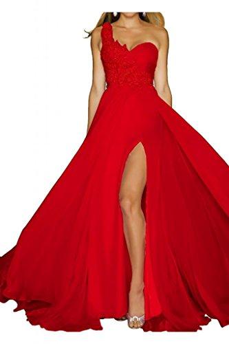 Toscana sposa donna un-spalla kraftool Chiffon Bete un'ampia vestimento per una serata Party ball vestimento Rot