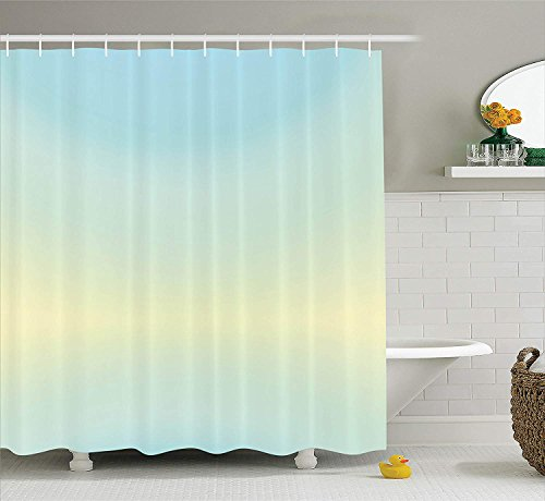 MLNHY Teal Shower Curtain, Defocused Abstract Design in The Center Blurred Color Elements Sky Blue Like Artwork, Fabric Bathroom Decor Set with Hooks, Baby Blue,Size:66W X 72L Inche Cute Button Center