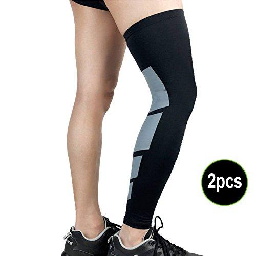 WeterCos (TM 2Pcs Erholung Kompressionsstrümpfe Sleeve Sport Fußball Basketball Strech Knie Pads Lang Unterstützung b2cshop, Schwarz, Metro