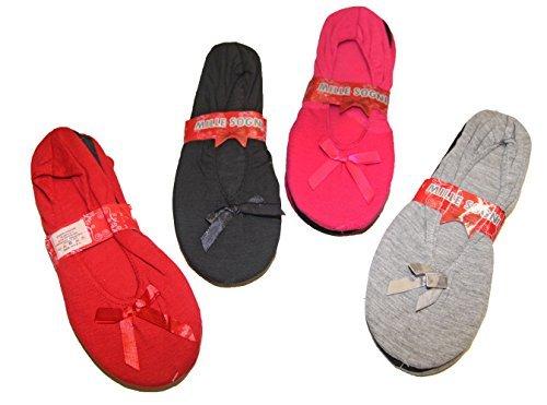 Pierre-cedric Lot de 2 Paires de Chaussons Mule Pantoufle Ballerines Femme Confortable Uni Coton