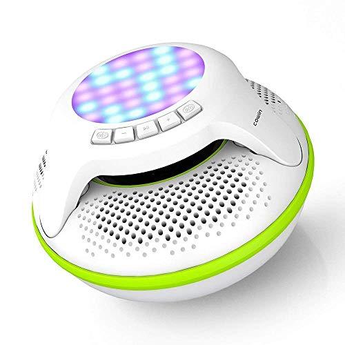 D-JIU Schwimmer wasserdichte Bluetooth-Lautsprecher 4.0 Mini tragbare Stereo-Subwoofer im Freien Floating Wireless IPX7 mit 10W Plus Deep Bass und bunten LED-Licht Wireless Ipod Stereo