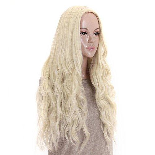 Falamka Kleine lockige lange Perücke für Täglich aussehende Mode Frauen Perücke (Blondine)
