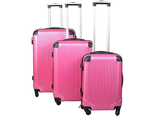 Reisekoffer 3tlg Kofferset Trolley Hartschalenkoffer Reisekofferset M L XL #4094, Farbe:Rosa