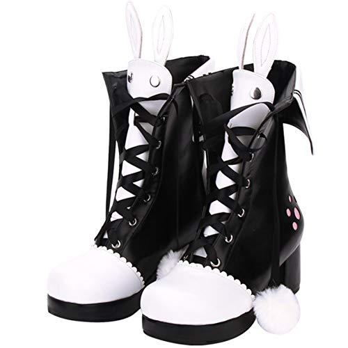 PINGXIANNV Lolita Schuhe New Lolita Stiefel Winter Spitze Revers Stickerei Hasenohren High Heel Mädchen Schuhe (High Stiefel Heel Für Kinder)
