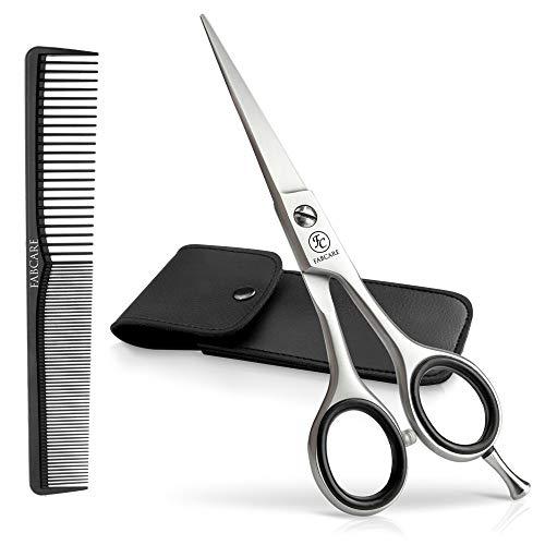 here inkl. Etui und Kamm (3er Set) - Extra scharf - Haarschneideschere Profi 5,5 Zoll - Einseitige Mikroverzahnung - Schere inkl. Haare schneiden Ebook ()