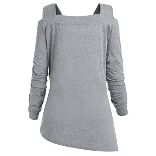 Strapless Fashion (WWricotta Women's Fashion Long Sleeve Solid Color Strapless Pullover Top(Grau,M))