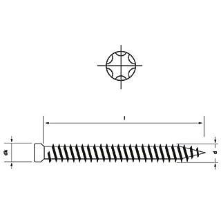 Fensterrahmenschrauben m. kleinem Kopf 7.5 mm I Stern I25 · 112 132 152 182 mm, Länge / Menge:7.5 x 152 mm (100 St.)