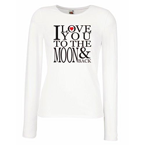 Weibliche langen Ärmeln T-Shirt Ich liebe dich zum Mond und zurück zu lieben T-Shirt, große Valentinstag Geschenk Weiß Schwarz