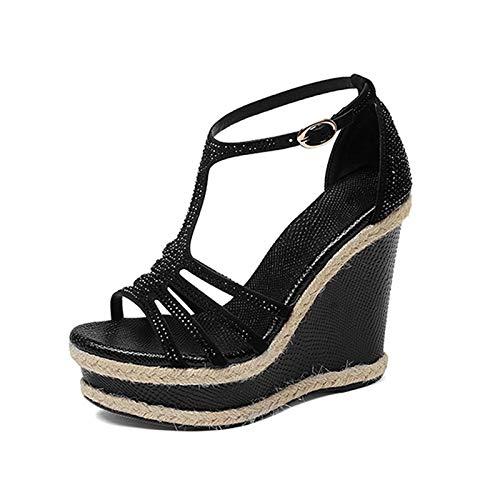 HOESCZS 2018 Marke Design t-Strap Schaffell Plattform Sommer Sandalen Schuhe Frau Keil High Heels Kristalle Frauen Sandalen,Schwarz,34 -