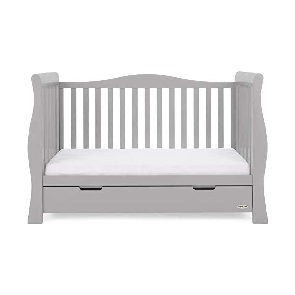 Obaby Stamford Luxe Sleigh Cot Bed, Warm Grey Obaby Adjustable 3 position mattress height Sides remove to transform into toddler bed Includes matching under drawer for storage 12