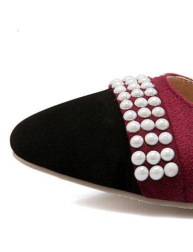 WSS 2016 Chaussures Femme-Bureau & Travail / Habillé / Décontracté-Noir / Beige / Bordeaux-Plateforme-Talons / Confort / Bout Carré-Talons- burgundy-us8 / eu39 / uk6 / cn39