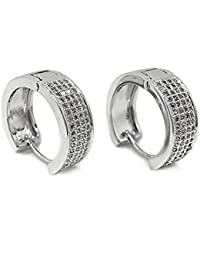 YOURDORA Ladies Silver Hoop Earrings with SWAROVSKI Crystals Large Creole Earrings for Women Girls 25mm, Gift Box