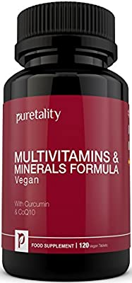 Multivitamins & Minerals Formula | 100% MONEY BACK GUARANTEE | 120 Vegetarian & Vegan Tablets with Curcumin & CoQ10 | One a Day 27 Multi Vitamins with Iron and Minerals for Men and Women by Puretality by Puretality