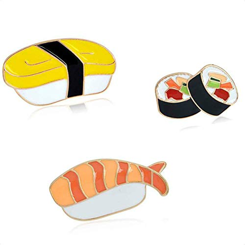 Junecat 3PCS Emaille Pins Karikatur japanische Sushi Brosche Set-Taste Pin Jeansjacke Rucksack T-Shirt-Kragen-Revers Pin