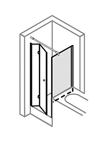 Duschkabine 80x80 verkürzte Seitenwand auf Badewanne, Typ 5005205 & 5225, Drehfalttür, Alu Silber Matt