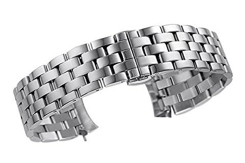 16 mm étonnants bracelets de montre ss acier inox de luxe pour les femmes dans les liens solides d'argent de style pilote d'extrémité recourbée