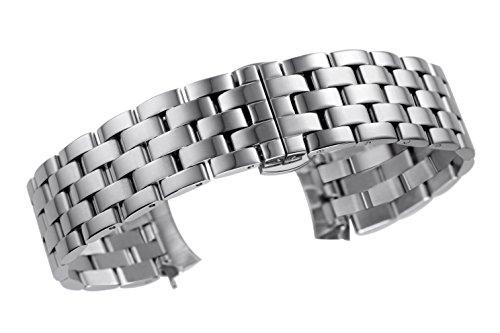 21 millimetri di lusso sostituzione bracciale orologio ben realizzata per gli uomini in solido estremità ricurva in acciaio inox argento