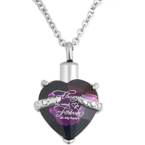 Collar de urna de cremación de corazón para mascotas Cenizas humanas de joyería de urna Colgante conmemorativo con kit de llenado y caja de regalo (Púrpura)