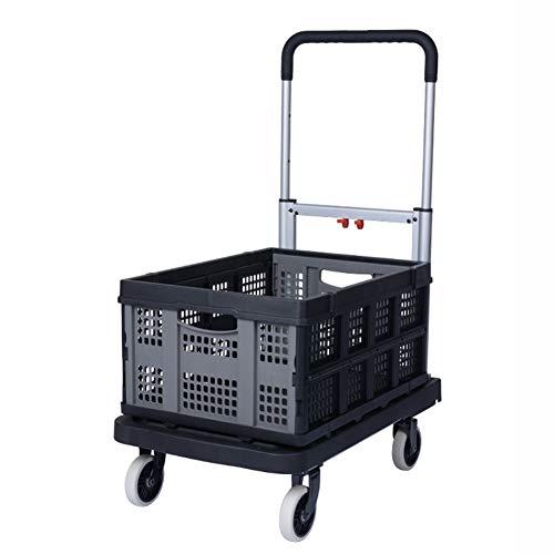 Einkaufstrolleys Portable Handwagen Aluminium Klapprad Handwagen Leichte Transportwagen Mit Faltbare Abnehmbare Box, Schwarz (Farbe : Style 2)