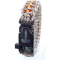 Pulsera de supervivencia ESPAÑA a medida 5 en 1 con silbato, brújula, pedernal, raspador y cuerda de paracord 550 tipo III. Hecha a mano en España. Color ÁRIDO PIXELADO.
