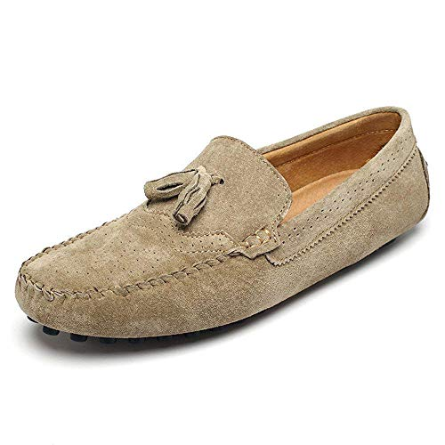 FuweiEncore Herren Mokassins Schuhe, Männer Fahren Penny Leichte Mokassins Quaste Anhänger Dekor Echtes Leder Slip-on Loafers (Color : Wein, Größe : 44 EU) (Farbe : Khaki, Größe : 42 EU)