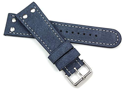 Cinturino per orologio, in pelle, da pilota dell'aviazione, di tipo militare della Nato, extra resistente, blu, 22 mm
