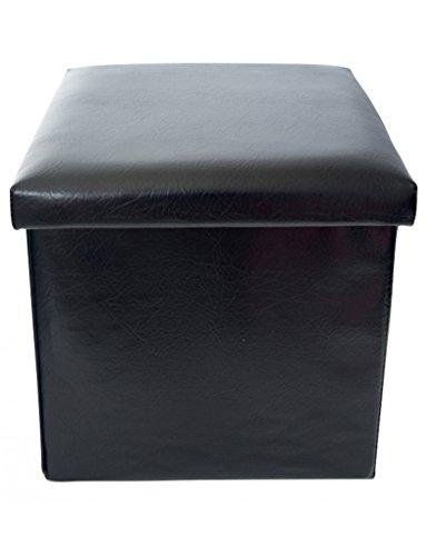 Puff/Plegable Acolchado para Almacenaje. Original Diseño en Negro, Mu