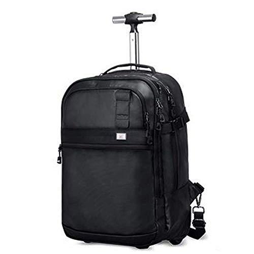 Doppel-zip Herren Aktentasche (IF.HLMF Trolleyrucksack Laptop Rucksack auf Rollen mit Zip Away Teleskopgriff für Damen und Herren)