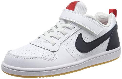 Nike Jungen Court Borough Low (PSV) Basketballschuhe, Weiß (White/Obsidian/Univ Red/Gum Lt Brown 105), 35 EU
