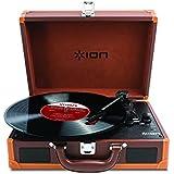 ION Audio Vinyl Motion - Tourne-disque valise de luxe, portable et rechargeable - Deluxe Brown