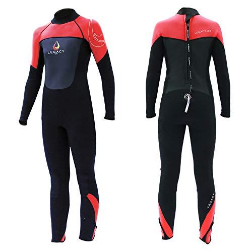 Legacy Surfanzug Junior, Neoprenanzug, Wetsuit, 3/2 mm, Lange Ärmel und Beine, Rot, Größe L (12-14 Jahre)