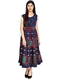 fashiongrape Cotton Women's Maxi Long Semi-Stitched Fabric Jaipuri Printed - Free Size,Navy Blue