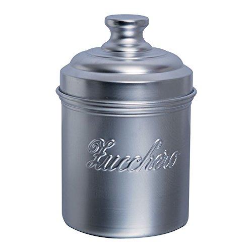 Excelsa Pot à Sucre en Aluminium, Couleur Argent avec Inscription Zucchero